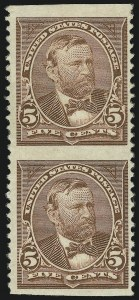 Sale Number 863, Lot Number 518, 1894-98 Bureau Issues (Scott 255c to 282C)5c Chocolate, Vertical Pair, Imperforate Horizontally (255c), 5c Chocolate, Vertical Pair, Imperforate Horizontally (255c)