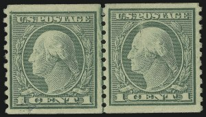 Sale Number 865, Lot Number 1350, Washington-Franklin Issues (Scott 441 to 458)1c Green, Coil, Retouched Vertical Plate Crack (443 var), 1c Green, Coil, Retouched Vertical Plate Crack (443 var)