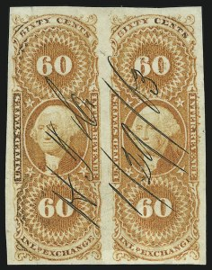 Sale Number 865, Lot Number 1942, First Issue Imperforate Revenues60c Inland Exchange, Imperforate (R64a), 60c Inland Exchange, Imperforate (R64a)