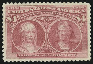 Sale Number 865, Lot Number 880, 1893 Columbian Issue ($4.00)$4.00 Rose Carmine, Columbian (244a), $4.00 Rose Carmine, Columbian (244a)