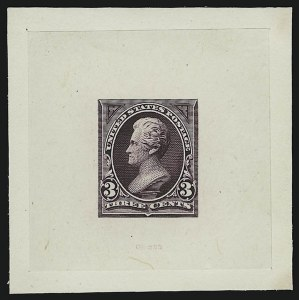 Sale Number 867, Lot Number 1267, 1894-95 3-Cent Bureau Issue3c Dark Red Violet, Trial Color Large Die Proof on India (253TC1), 3c Dark Red Violet, Trial Color Large Die Proof on India (253TC1)