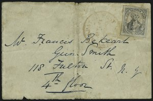 Sale Number 868, Lot Number 2002, U.S. City Despatch Post, New York, N.Y.U.S. City Despatch Post, New York N.Y., 3c Black on Grayish (6LB1), U.S. City Despatch Post, New York N.Y., 3c Black on Grayish (6LB1)