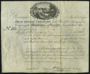 Sale Number 869, Lot Number 3001, Historical Documents and Free FranksPennsylvania and Lancaster Turnpike Stock Certificate, Pennsylvania and Lancaster Turnpike Stock Certificate