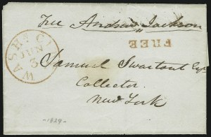 Sale Number 869, Lot Number 3003, Historical Documents and Free FranksAndrew Jackson, Andrew Jackson