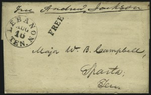Sale Number 869, Lot Number 3004, Historical Documents and Free FranksAndrew Jackson, Andrew Jackson