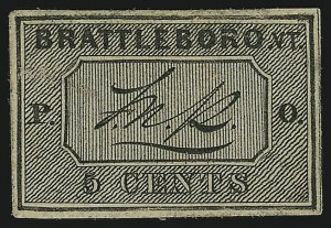 Sale Number 869, Lot Number 3005, Postmasters ProvisionalsBrattleboro Vt., 5c Black on Buff (5X1), Brattleboro Vt., 5c Black on Buff (5X1)