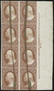 Sale Number 869, Lot Number 3024, 1851-56 Issue3c Red, Ty. I, Plate Proof on India, Brush Stroke Obliteration (11P3), 3c Red, Ty. I, Plate Proof on India, Brush Stroke Obliteration (11P3)