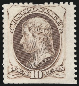 Sale Number 869, Lot Number 3139, 1875 Continental Bank Note Co. Special Printings10c Pale Brown, Special Printing (172), 10c Pale Brown, Special Printing (172)