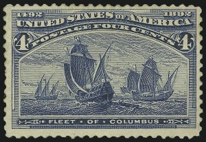 Sale Number 869, Lot Number 3164, 1893 Columbian Issue4c Columbian, Error of Color (233a), 4c Columbian, Error of Color (233a)