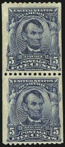 Sale Number 869, Lot Number 3194, 1902-08 Issues5c Blue, Vertical Coil (317), 5c Blue, Vertical Coil (317)