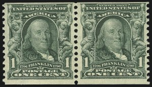 Sale Number 869, Lot Number 3196, 1902-08 Issues1c Blue Green, Horizontal Coil (318), 1c Blue Green, Horizontal Coil (318)