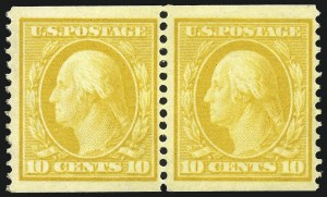 Sale Number 869, Lot Number 3199, 1908-10 Issue including Bluish Paper10c Yellow, Coil (356), 10c Yellow, Coil (356)