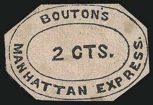 Sale Number 869, Lot Number 3310, Carriers and LocalsBouton's Manhattan Express, New York N.Y., 2c Black on Pink (17L1), Bouton's Manhattan Express, New York N.Y., 2c Black on Pink (17L1)