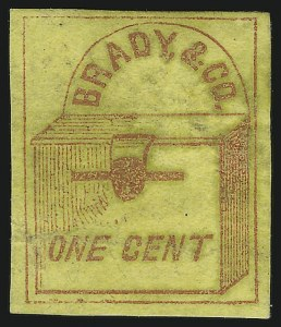 Sale Number 869, Lot Number 3311, Carriers and LocalsBrady & Co., New York N.Y., 1c Red on Yellow (22L1), Brady & Co., New York N.Y., 1c Red on Yellow (22L1)