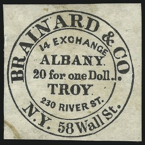 Sale Number 869, Lot Number 3312, Carriers and LocalsBrainard & Co., (5c) Black (24L1), Brainard & Co., (5c) Black (24L1)