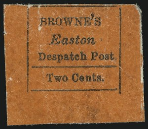 Sale Number 869, Lot Number 3314, Carriers and LocalsBrowne's Easton Despatch, Easton Pa., 2c Black on Red (30L1), Browne's Easton Despatch, Easton Pa., 2c Black on Red (30L1)