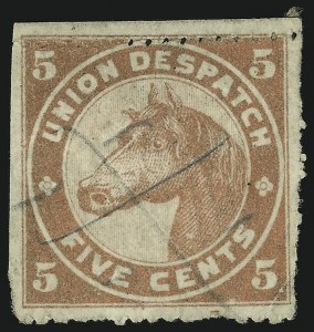 Sale Number 869, Lot Number 3325, Carriers and LocalsUnion Despatch, Chicago Ill., 5c Red, Rouletted (unlisted in Scott), Union Despatch, Chicago Ill., 5c Red, Rouletted (unlisted in Scott)
