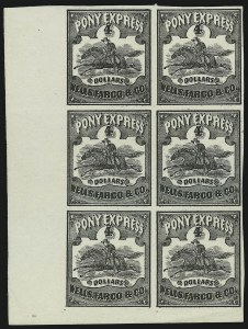 Sale Number 869, Lot Number 3326, Carriers and LocalsWells, Fargo & Co., Pony Express, $4.00 Black (143L5), Wells, Fargo & Co., Pony Express, $4.00 Black (143L5)
