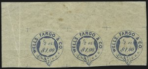Sale Number 869, Lot Number 3327, Carriers and LocalsWells, Fargo & Co. Pony Express, $1.00 Blue, Garter (143L6), Wells, Fargo & Co. Pony Express, $1.00 Blue, Garter (143L6)