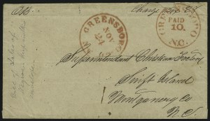 Sale Number 869, Lot Number 3344, Confederate PostmastersGreensboro N.C., 10c Red entire (32XU1), Greensboro N.C., 10c Red entire (32XU1)