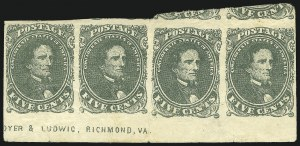 Sale Number 869, Lot Number 3352, Confederate States General Issues5c Olive Green, Stone A-B (1c), 5c Olive Green, Stone A-B (1c)