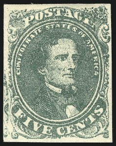 "Sale Number 869, Lot Number 3353, Confederate States General Issues5c Green, Stone 2, ""Twin Scrolls"" Misplaced Transfer (1 var), 5c Green, Stone 2, ""Twin Scrolls"" Misplaced Transfer (1 var)"