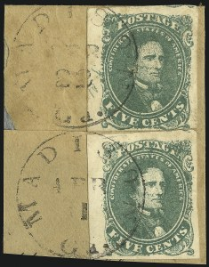 Sale Number 869, Lot Number 3355, Confederate States General Issues5c Green, Stone 2, Side Margin with Initials (1 var), 5c Green, Stone 2, Side Margin with Initials (1 var)