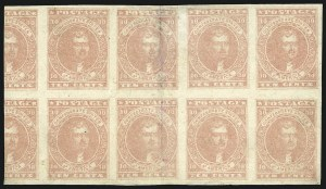 Sale Number 869, Lot Number 3367, Confederate States General Issues10c Pale Rose (5), 10c Pale Rose (5)