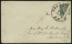 Sale Number 869, Lot Number 3383, Confederate States General Issues20c Green, Diagonal Half Used as 10c (13c), 20c Green, Diagonal Half Used as 10c (13c)