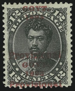 Sale Number 869, Lot Number 3392, Hawaii1893, 12c Black, Red Ovpt., Double Ovpt. I (62d), 1893, 12c Black, Red Ovpt., Double Ovpt. I (62d)
