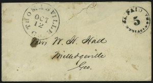 Sale Number 870, Lot Number 1253, Confederate Postmasters ProvisionalsThomasville Ga., 5c Black entire (82XU2), Thomasville Ga., 5c Black entire (82XU2)