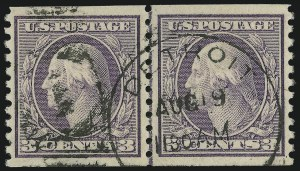 Sale Number 872, Lot Number 1124, 1916-23 Issues (Scott 482 to 519)3c Violet, Ty. I, Coil (493), 3c Violet, Ty. I, Coil (493)