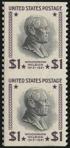 Sale Number 872, Lot Number 1229, 1922 and Later Issues$1.00 Presidential, Vertical Pair, Imperforate Horizontally (832a), $1.00 Presidential, Vertical Pair, Imperforate Horizontally (832a)