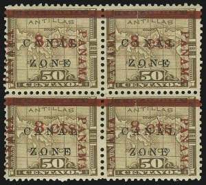 "Sale Number 872, Lot Number 2223, Canal Zone (Scott 14 thru 20)1904, 8c on 50c Bister Brown, ""Zone"" in Antique Type (14a), 1904, 8c on 50c Bister Brown, ""Zone"" in Antique Type (14a)"