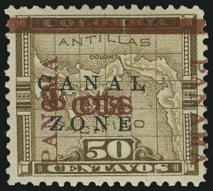 "Sale Number 872, Lot Number 2225, Canal Zone (Scott 14 thru 20)1904, 8c on 50c Bister Brown, ""Panama"" Ovpt. in Rose Brown, ""8cts"" Double (14f), 1904, 8c on 50c Bister Brown, ""Panama"" Ovpt. in Rose Brown, ""8cts"" Double (14f)"