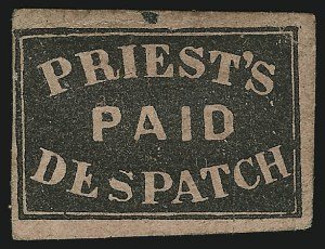 Sale Number 875, Lot Number 1223, Independent Mails and Local PostsPriest's Despatch, Philadelphia Pa., (2c) Black on Rose Wove (121L4), Priest's Despatch, Philadelphia Pa., (2c) Black on Rose Wove (121L4)