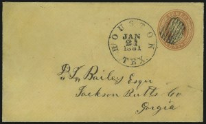 Sale Number 875, Lot Number 204, Independent & Confederate State Use of U.S. StampsHouston Tex. Jan. 21, 1861, Houston Tex. Jan. 21, 1861