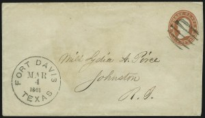 Sale Number 875, Lot Number 205, Independent & Confederate State Use of U.S. StampsFort Davis Texas Mar. 4, 1861, Fort Davis Texas Mar. 4, 1861