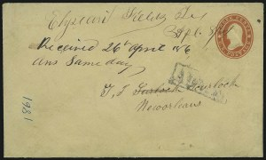 Sale Number 875, Lot Number 207, Independent & Confederate State Use of U.S. StampsElysian Fields Tex. Apl. 8, 1861, Elysian Fields Tex. Apl. 8, 1861