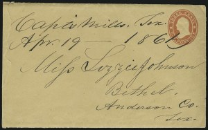 Sale Number 875, Lot Number 209, Independent & Confederate State Use of U.S. StampsCapt's. Mills Tex. Apr. 19, 1861, Capt's. Mills Tex. Apr. 19, 1861