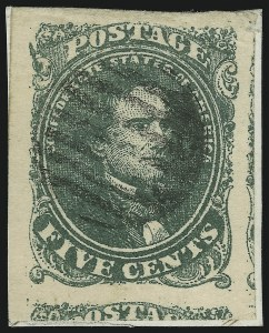 Sale Number 875, Lot Number 260, General Issues Off Cover5c Green, Stone 2, Spur on Upper Left Scroll (1 var), 5c Green, Stone 2, Spur on Upper Left Scroll (1 var)