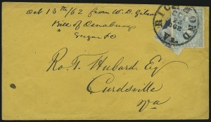 Sale Number 875, Lot Number 278, General Issues on Cover10c Light Blue, Paterson (2a), 10c Light Blue, Paterson (2a)