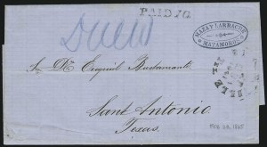 Sale Number 875, Lot Number 345, Thru-the-Lines and Prisoner-of-War MailsBrownsville Tex. Feb. 28, 1865, Brownsville Tex. Feb. 28, 1865
