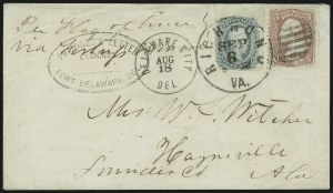 Sale Number 875, Lot Number 346, Thru-the-Lines and Prisoner-of-War MailsFort Delaware Del., Fort Delaware Del.