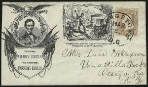 Sale Number 875, Lot Number 363, Lincoln Campaign CoversBeardless Lincoln and Railsplitter Campaign Design, Beardless Lincoln and Railsplitter Campaign Design