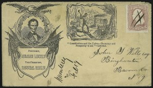Sale Number 875, Lot Number 364, Lincoln Campaign CoversBeardless Lincoln and Railsplitter Campaign Design, Beardless Lincoln and Railsplitter Campaign Design