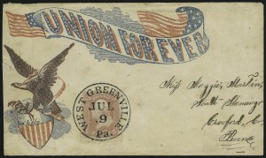 "Sale Number 875, Lot Number 395, Civil War Patriotics""Union Forever"" Eagle and Shield, ""Union Forever"" Eagle and Shield"
