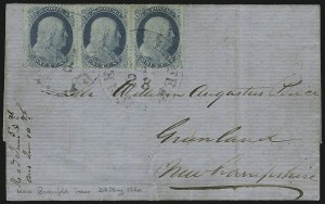 Sale Number 875, Lot Number 809, 1c 1857-60 Issue1c Blue, Ty. V (24), 1c Blue, Ty. V (24)