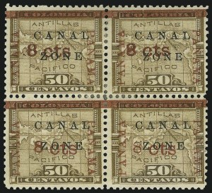 "Sale Number 878, Lot Number 600, Canal Zone1904. 8c on 50c Bister Brown, ""Panama"" Ovpt. in Rose Brown, ""Zone"" in Antique Type (14e), 1904. 8c on 50c Bister Brown, ""Panama"" Ovpt. in Rose Brown, ""Zone"" in Antique Type (14e)"