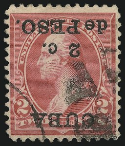 Sale Number 878, Lot Number 627, Cuba, Guam, Philippines1899, 2c on 2c Reddish Carmine, Ty. IV, Inverted Surcharge (222Ad), 1899, 2c on 2c Reddish Carmine, Ty. IV, Inverted Surcharge (222Ad)